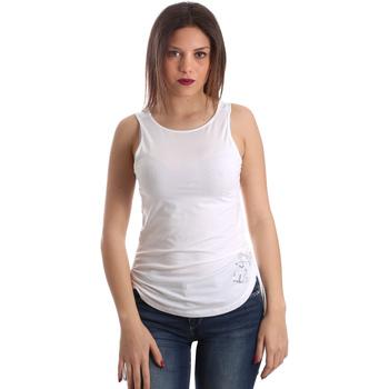 textil Dam Linnen / Ärmlösa T-shirts Ea7 Emporio Armani 3GTH54 TJ28Z Vit