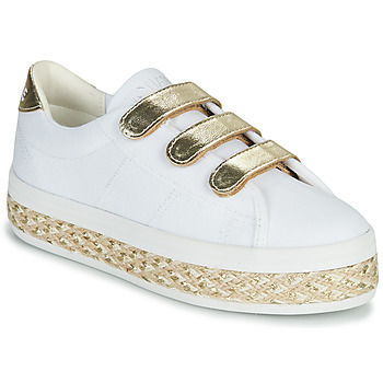 Skor Dam Sneakers No Name MALIBU STRAPS Vit / Guldfärgad