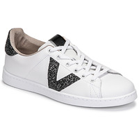 Skor Dam Sneakers Victoria TENIS PIEL GLITTER Vit / Svart