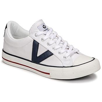 Skor Sneakers Victoria TRIBU LONA CONTRASTE Vit / Blå