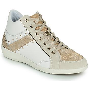 Skor Dam Höga sneakers Geox D MYRIA G Vit / Beige