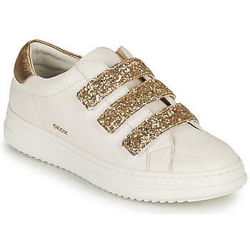 Skor Dam Sneakers Geox D PONTOISE C Vit / Guldfärgad