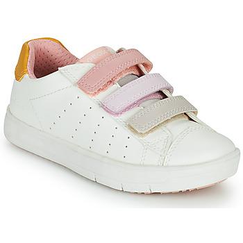 Skor Flickor Sneakers Geox SILENEX GIRL Vit / Rosa / Beige