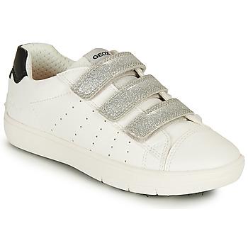 Skor Flickor Sneakers Geox SILENEX GIRL Vit / Silver / Svart