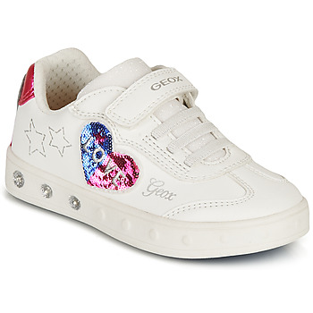 Skor Flickor Sneakers Geox SKYLIN GIRL Vit / Svart / Rosa
