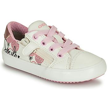 Skor Flickor Sneakers Geox GISLI GIRL Vit / Rosa