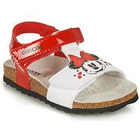 Skor Flickor Sandaler Geox SANDAL CHALKI GIRL Röd / Vit