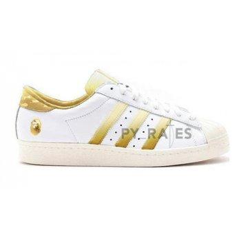 Skor Höga sneakers adidas Originals Bape x adidas Superstar Off-White/Footwear White-Gold Metallic