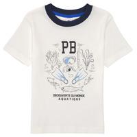 textil Pojkar T-shirts Petit Bateau MARCO Vit