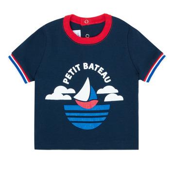 textil Pojkar T-shirts Petit Bateau MENU Marin