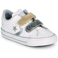 Skor Flickor Sneakers Converse STAR PLAYER 2V METALLIC LEATHER OX Vit