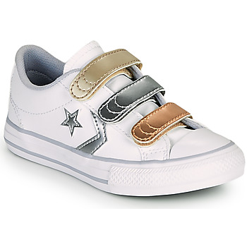 Skor Flickor Sneakers Converse STAR PLAYER 3V METALLIC LEATHER OX Vit