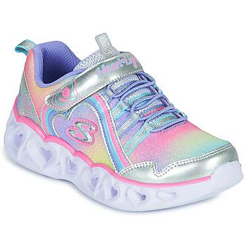 Skor Flickor Sneakers Skechers HEART LIGHTS RAINBOW LUX Silver / Rosa