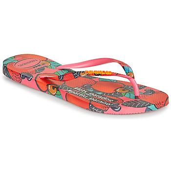 Skor Dam Flip-flops Havaianas SLIM SUMMER Rosa / Röd
