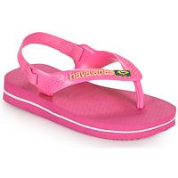 Skor Flickor Flip-flops Havaianas BABY BRASIL LOGO II Rosa