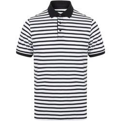 textil Herr Kortärmade pikétröjor Front Row FR230 Vit/marinefärgad