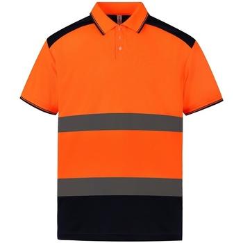 textil Kortärmade pikétröjor Yoko YK017 Orange/Navy
