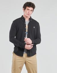 textil Herr Långärmade skjortor Polo Ralph Lauren CHEMISE AJUSTEE COL BOUTONNE EN POLO FEATHERWEIGHT LOGO PONY PLA Svart