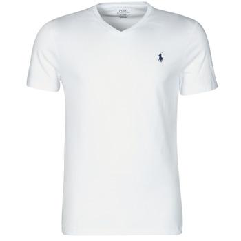 textil Herr T-shirts Polo Ralph Lauren T-SHIRT AJUSTE COL V EN COTON LOGO PONY PLAYER Vit