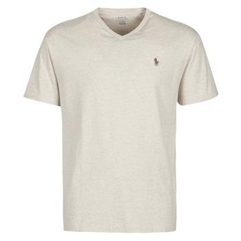textil Herr T-shirts Polo Ralph Lauren T-SHIRT AJUSTE COL V EN COTON LOGO PONY PLAYER Beige