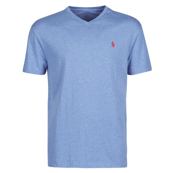textil Herr T-shirts Polo Ralph Lauren T-SHIRT AJUSTE COL V EN COTON LOGO PONY PLAYER Blå