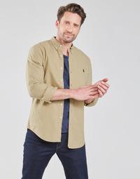 textil Herr Långärmade skjortor Polo Ralph Lauren CHEMISE CINTREE SLIM FIT EN OXFORD LEGER TYPE CHINO COL BOUTONNE Beige