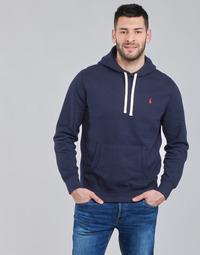 textil Herr Sweatshirts Polo Ralph Lauren SWEAT A CAPUCHE MOLTONE EN COTON LOGO PONY PLAYER Blå