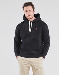 textil Herr Sweatshirts Polo Ralph Lauren SWEAT A CAPUCHE MOLTONE EN COTON LOGO PONY PLAYER Svart