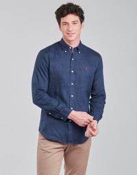 textil Herr Långärmade skjortor Polo Ralph Lauren CHEMISE AJUSTEE EN LIN COL BOUTONNE  LOGO PONY PLAYER Blå