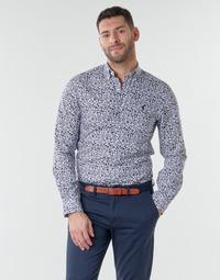 textil Herr Långärmade skjortor Polo Ralph Lauren CHEMISE CINTREE SLIM FIT EN POPLINE DE COTON COL BOUTONNE LOGO P Blå