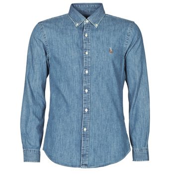 textil Herr Långärmade skjortor Polo Ralph Lauren CHEMISE CINTREE SLIM FIT EN JEAN DENIM BOUTONNE LOGO PONY PLAYER Blå / Denim