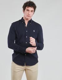 textil Herr Långärmade skjortor Polo Ralph Lauren CHEMISE AJUSTEE COL BOUTONNE EN POLO FEATHERWEIGHT LOGO PONY PLA Marin