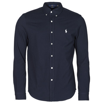textil Herr Långärmade skjortor Polo Ralph Lauren CHEMISE AJUSTEE COL BOUTONNE EN POLO FEATHERWEIGHT LOGO PONY PLA Marin
