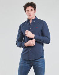 textil Herr Långärmade skjortor Polo Ralph Lauren CHEMISE CINTREE SLIM FIT EN OXFORD LEGER TYPE CHINO COL BOUTONNE Marin