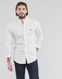 textil Herr Långärmade skjortor Polo Ralph Lauren CHEMISE CINTREE SLIM FIT EN OXFORD LEGER TYPE CHINO COL BOUTONNE Vit
