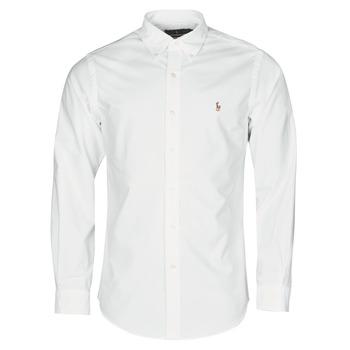 textil Herr Långärmade skjortor Polo Ralph Lauren CHEMISE AJUSTEE EN OXFORD COL BOUTONNE  LOGO PONY PLAYER MULTICO Vit