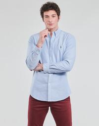 textil Herr Långärmade skjortor Polo Ralph Lauren CHEMISE AJUSTEE EN OXFORD COL BOUTONNE  LOGO PONY PLAYER MULTICO Blå