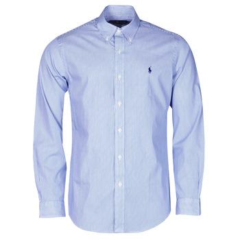 textil Herr Långärmade skjortor Polo Ralph Lauren CHEMISE AJUSTEE EN POPLINE DE COTON COL BOUTONNE  LOGO PONY PLAY Blå / Vit / Stripes