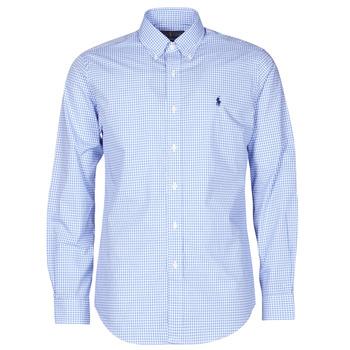 textil Herr Långärmade skjortor Polo Ralph Lauren CHEMISE AJUSTEE EN POPLINE DE COTON COL BOUTONNE  LOGO PONY PLAY Blå / Vit