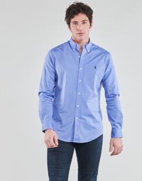 textil Herr Långärmade skjortor Polo Ralph Lauren CHEMISE AJUSTEE EN POPLINE DE COTON COL BOUTONNE  LOGO PONY PLAY Blå