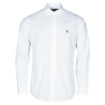 textil Herr Långärmade skjortor Polo Ralph Lauren CHEMISE AJUSTEE EN POPLINE DE COTON COL BOUTONNE  LOGO PONY PLAY Vit