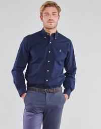 textil Herr Långärmade skjortor Polo Ralph Lauren CHEMISE AJUSTEE EN POPLINE DE COTON COL BOUTONNE  LOGO PONY PLAY Marin
