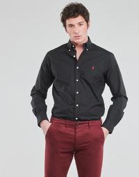 textil Herr Långärmade skjortor Polo Ralph Lauren CHEMISE AJUSTEE EN POPLINE DE COTON COL BOUTONNE  LOGO PONY PLAY Svart
