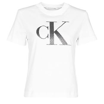 textil Dam T-shirts Calvin Klein Jeans SATIN BONDED FILLED CK TEE Vit