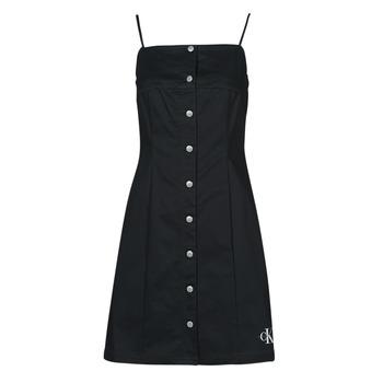 textil Dam Korta klänningar Calvin Klein Jeans COTTON TWILL BUTTON DRESS Svart