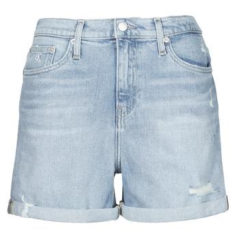 textil Dam Shorts / Bermudas Calvin Klein Jeans MOM SHORT Blå / Ljus
