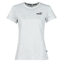 textil Dam T-shirts Puma ESS LOGO TEE Grå / Melerad