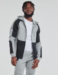 textil Herr Sweatshirts Puma EVOSTRIPE FZ HOODY Grå / Svart