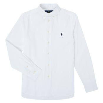 textil Pojkar Långärmade skjortor Polo Ralph Lauren TOUNIA Vit
