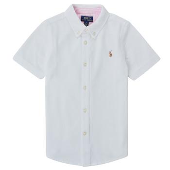 textil Pojkar Kortärmade skjortor Polo Ralph Lauren CAMISSA Vit